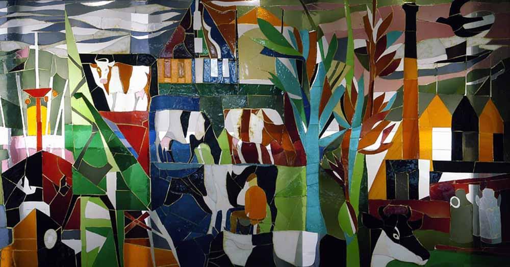 Glasappliqué voor NCW Amsterdam ca 1955 (status onbekend)
