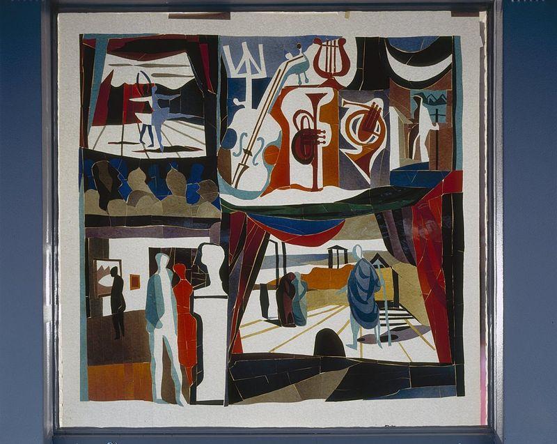 Lex Horn, Interieur aanzicht Glasapplique Emmeloord, 1953 (vernietigd)